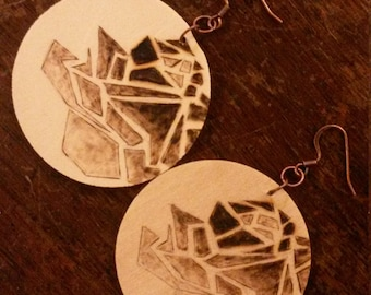 Wood Burned Geometric Rose Earrings