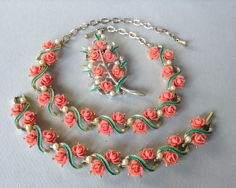 Faux Coral Celluloid Rose Necklace Bracelet and Brooch Set