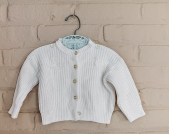 Vintage Ribbed Knit Cardigan for Baby with Embroidered Swans