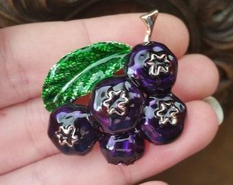 Blueberries  brooch enamel  gold tone