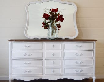 furniture refurbished. SOLD White French Provincial Triple Dresser With Mirror, Rustic Wood Stained Top, Custom Refinished Furniture Refurbished E