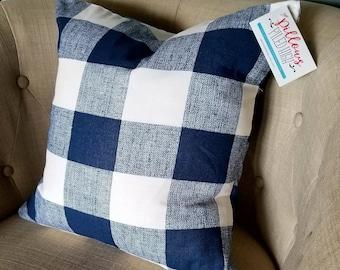 Blue Buffalo Check Pillow