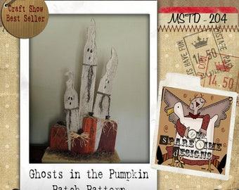 Wooden Ghosts Pumpkin Pattern, Primitive Halloween Pattern, Primitive Fall Pattern,  Pumpkin and Ghosts, Primitive Pumpkin