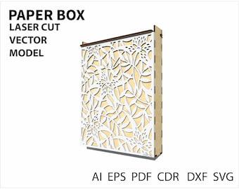 Laser cut paper box. Box design file for laser cut or cnc. instant download. Plywood box. Laser cut template. Cnc file. Cnc vector. SVG file