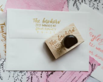 Custom Return Address Stamp | Hand Lettered Return Stamp | Personalized Rubber Stamp | Custom Stamp | Calligraphy Return Address