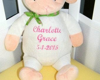 PERSONALIZED STUFFED ANIMAL. Baby Lamb. Baby Sheep. Custom Stuffed Animal.New Baby Gift. Baby Shower Gift. Monogrammed Stuffed Lamb.