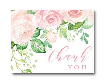 Vintage Botanical Wedding Thank You Card, Thank You Note, Vintage Flowers, Botanical Thank You Card, Wedding Card, Thank You Card #CL340