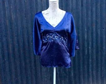 Blue silky feel 70's trumpet sleeved embellished hippy / boho top
