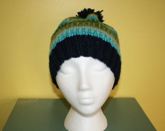 Hand-Knit Beanie in Blue Green