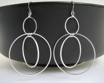 Silver Orbital Earrings - Dangle Hoop Earrings, modern minimalist engineer and coworker gift - Multi Circle