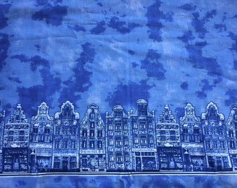 Dutch Delft Blue Cotton - Amsterdam houses and Dutch skies - Fat Quarter