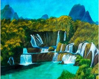 Waterfall Art Print, Matte Paper Poster, UNFRAMED, Waterfall Painting, Mountain Painting, Waterfall Landscape Painting, Fine Art Print