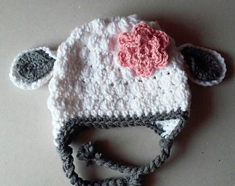 baby lamb hat, crochet lamb hat, baby girl hat, photo prop, baby shower gift, baby accessories, sheep hat, winter hat, hats and caps,