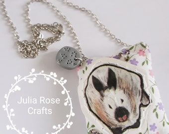 Handmade re-purposed material quirky rabbit pendant necklace