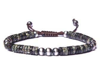 Men's Beaded Bracelet - Green Jasper Bracelet for Men - Bead Bracelet - Sterling Silver Bead Bracelet - Men's Jewelry - Bracelet for Men