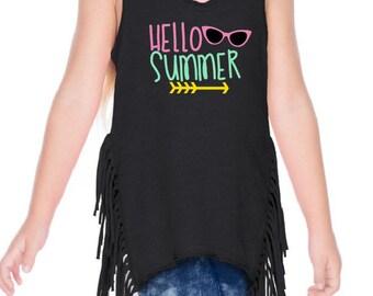 Hello Summer Shirt, Girls Summer Shirts, Girls Summer Top, Girls Summer Tank Tops, Summer Shirts, Girl Summer Shirt