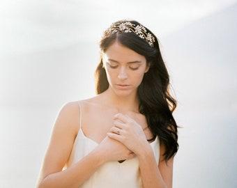 Floral Bridal Headband Headpiece, Crystal Bridal Wedding Hair Crown, Floral Bridal Headpiece, Crystal Bridal Tiara Headband - Style 504