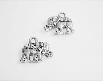 12PC. ELEPHANT Antique Silver tone plated charm//Adjustable/ Expandable Designer Inspired Wire Bracelet Charms//12PC. Elephant Charms