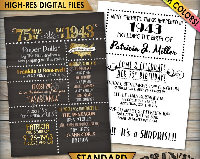 "75th Birthday Invitation, Flashback 1943 Invite, Born in 1943 Flashback 75 Years Ago, 75th Bday 5x7"" Chalkboard Style PRINTABLE 75th Invite"