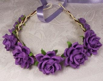 Flower crown wedding, Violet rose flowers headband, Bridal flower crown, bridal headpiece, wedding accessories