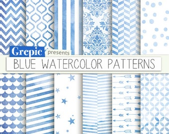 """Blue digital paper: """"BLUE WATERCOLOR PATTERNS"""" backgrounds with a blue hand painted watercolor effect incl damask, stripes, arrows, chevron"""