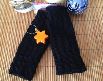 CLEARANCE - Mid-length hand knit fingerless gloves with multi-torsades, black