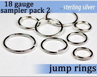 32 pcs 18g sterling sampler pack 2 assorted jump rings 18gsamp2 925 solid sterling