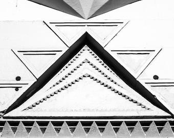 Black and white art deco pattern print - Vintage architecture photography - Antique wall decor - 8x10 art - geometric art - vintage pattern