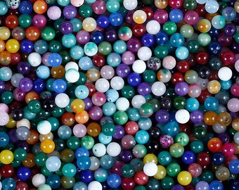 BULK 100 Mixed Gemstone Beads. Kinds of Different Natural Stone Beads. Round 6mm 8mm 10mm 12mm Beads