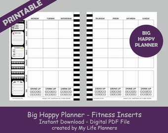 BIG Fitness Happy Planner Inserts, Printable Happy Planner Fitness Inserts, MAMBI Big Fitness Happy Planner Inserts, PDF Download