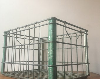 Vintage Chippy Green Metal Dairy Milk Crate. Ideal Dairy. Clifton, NJ.