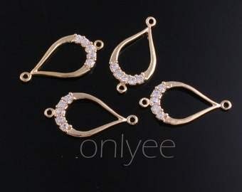 2pcs-20mmX10mm Highly polished 14K Gold plated over Brass Tear drop With Zircon Connector (K252G)