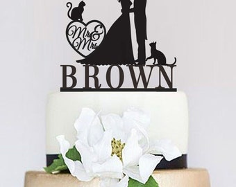 Wedding Cake Topper,Mr and Mrs Cake Topper With Last Name,Custom Cat Cake Topper,Pet Cake Topper,Bride and groom Cake Topper C073