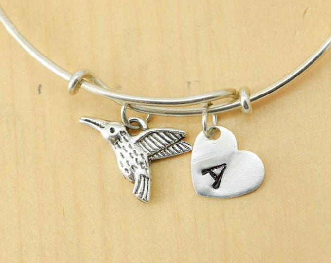 Hummingbird Bangle, Sterling Silver Bangle, Hummingbird Bracelet, Expandable, Personalized Bracelet, Charm, Initial Bracelet,Bridesmaid Gift