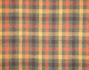 Rust And Olive Plaid Cotton Homespun Fabric | Rag Quilt Plaid Fabric | Doll Making Fabric | Woven Cotton Fabric | Fall  Sewing Fabric
