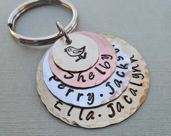 Mama Bird Stacked Keychain Personalized Hand Stamped Keychain- Custom Names - K47