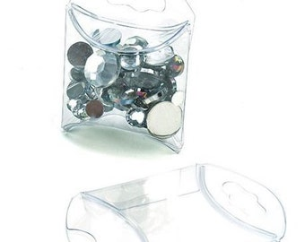 25 Clear Mini Pillow Boxes 1 3/4 x 3/4 x 1 3/4 Inches, Usuable Space 1 3/4 x 1 Inch, Tiny Favor Box, Optional Hanger