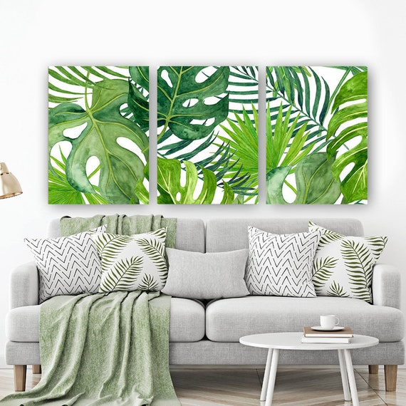 Banana Leaf Wall Art, Tropical Bedroom Wall Decor, Canvas Or Prints, Palm Watercolor, Floral Green Bathroom Decor, Home Decor, Set Of 3 by Etsy