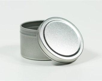 "Round Metal Tin - 2"" Circular Tins - Deep Dish 2 oz tins for Cosmetics, Candle Making or Wedding Favours"