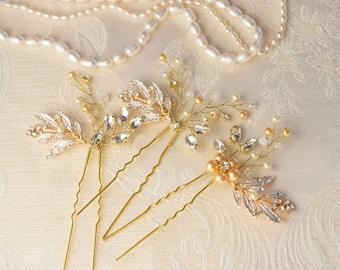 Bridal hair pins, Rhinestone and pearl wedding headpiece, Gold hair piece, Bridal hair jewelry