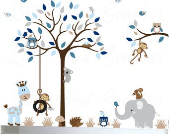 Baby boy wall decal tree nursery animal owl decals