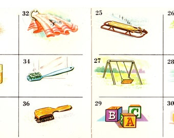 Vintage Home Objects Cards Like Bingo 1970 2 Bingo Cards and 12 Item Cards for Play or Crafting FREE SHIPPING