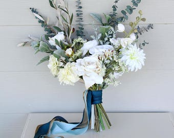 RESERVED for Melissa - Something Blue Eucalyptus and Silk Flower Wedding Bouquet | Marine Blue Champagne and Bridal White | SG-1036
