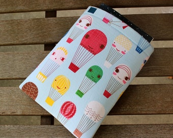 Hot Air Balloon Small 9x7.5 Fully Lined Padded Foam Book Sleeve Tablet Case
