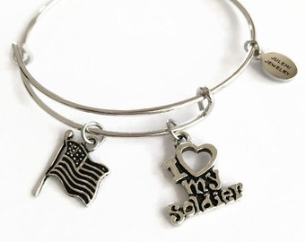 I Love My Soldier Expandable Bracelet Soldier Stacking Bracelet Military Wife Charm Bangle Bracelet Soldier Adjustable Wire Bracelet (SP9)