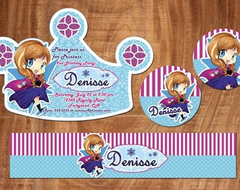 18 ELSA crown invitation also  tags label party birthday english or spanish