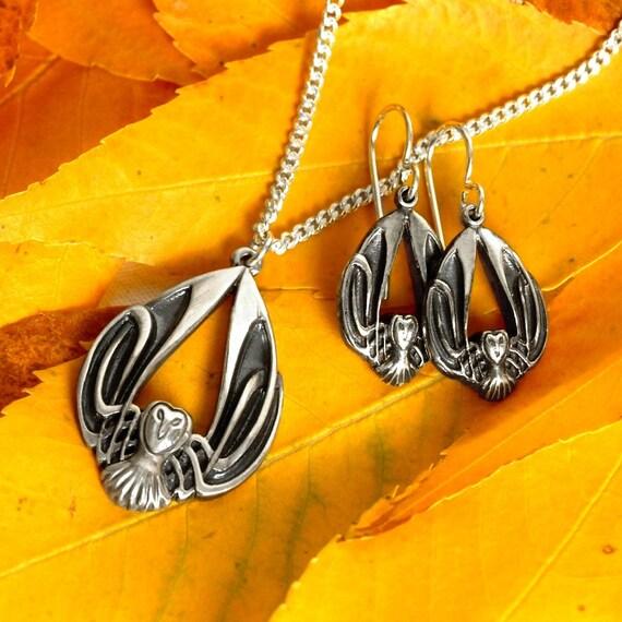 Silver Owl Necklace & Earring Set, Celtic Owl Pendant, Sterling Owl Earrings, Barn Owl Jewelry, Art Nouveau Owl Jewelry, Owl Lover Gift