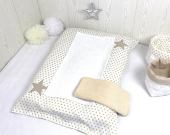 Changing pad cover, white with beige stars