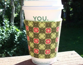 FREE SHIPPING UPGRADE with minimum -  Fabric coffee cozy / cup holder / coffee sleeve  -- Clover Dot Pink and Lime Mezzanine