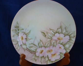 1900s Artist Signed Beautiful Antique Hand Painted KPM Flower Plate  c1904 - 24